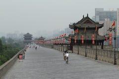 The historic City Wall of Xian Stock Photos