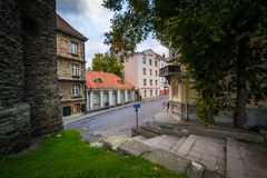 Historic city walls and buildings in the Old Town,  Tallinn, Est Stock Image