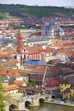Historic City of Wuerzburg. Aerial view of the historic city of Wuerzburg, region of Franconia, Northern Bavaria, Germany. The town is located on the Main River Stock Photography