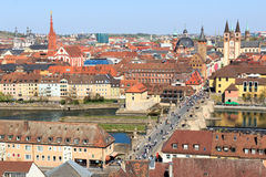Historic city of Wurzburg with bridge Alte Mainbrucke, Germany Stock Photos