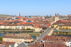 Historic city of Wurzburg with bridge Alte Mainbrucke, Germany Stock Images