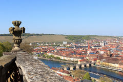 Historic city of Wurzburg with bridge Alte Mainbrucke, Germany Stock Photo