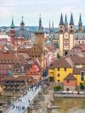 Historic city of Wurzburg, Franconia, Bavaria, Germany. Aerial view of the historic city of Wurzburg, region of Franconia, Northern Bavaria, Germany stock image