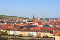Historic city of Wurzburg, Germany with Marienkapelle and Stift Haug Royalty Free Stock Photography
