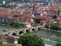 Old Main Bridge and cityscape Wurzburg aerial Stock Image