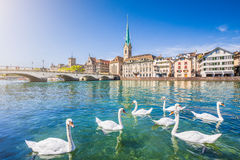 Historic city of Zurich with river Limmat, Switzerland Royalty Free Stock Photos