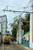 Historic classic yellow tram of Lisbon Royalty Free Stock Photos