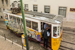 Historic classic yellow tram of Lisbon Royalty Free Stock Photography