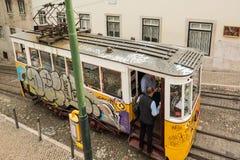Historic classic yellow tram of Lisbon Royalty Free Stock Photography