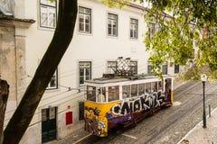 Historic classic yellow tram of Lisbon Stock Image