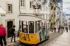 Historic classic yellow tram of Lisbon Royalty Free Stock Images