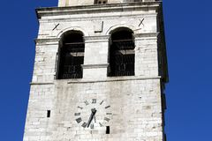 Historic clock in the high Bell Tower of AQUILEIA Royalty Free Stock Image