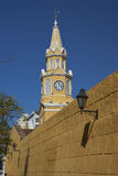 Historic Clock Tower in Cartagena, Colombia stock photo