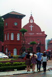 Historic Clock Tower in Melaka. The Stadthuys (an old Dutch spelling, meaning city hall), also known as the Red Square, is a historical structure situated in the Royalty Free Stock Images