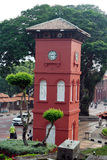 Historic Clock Tower in Melaka. The Stadthuys (an old Dutch spelling, meaning city hall), also known as the Red Square, is a historical structure situated in the Stock Image