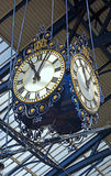 Historic Clocks in Brighton Railway Station, UK. Royalty Free Stock Image
