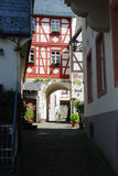 Historic cobbled street and archway in Beilstein Germany. Looking down old historic cobbled street & archway in Beilstein Germany Stock Photography