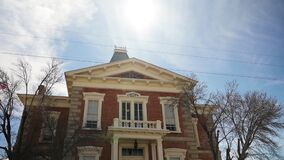 Historic courthouse in Tombstone, Arizona, panning shot