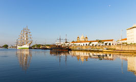 The historic Colombian Tall Ship and old pirate ship moored at the port of Cartagena. Royalty Free Stock Photography