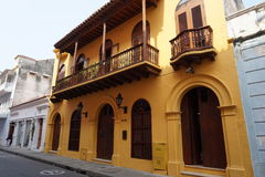 Historic colonial building Cartagena Stock Images