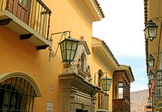 The Historic Colonial Buildings on Jaen Street or Calle Jaen in La Paz, Bolivia. South America stock photo
