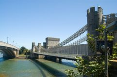 Historic Conwy Bridge. Historic Conwy Suspension Bridge in Conwy, Wales Stock Photography
