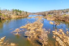Historic Coosa River at Low Water Mark. The Coosa River. One of Alabama`s most developed rivers and a tributary of the Alabama River, now at abnormally low water Royalty Free Stock Photos