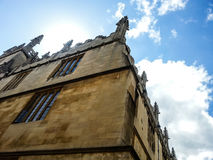 Historic corner of gothic building church in Great Britain Royalty Free Stock Images