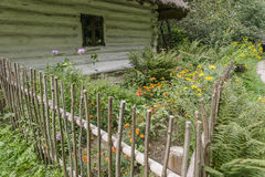 Historic cottage and garden royalty free stock photo
