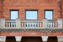 Historic County Court House Windows Brick and Balcony Stock Images