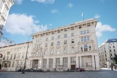Low angle view of the historic building of the Constitutional Court in downtown district of Vienna, Austria Stock Photos