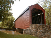 An Historic Covered Bridge. A red wooden covered bridge near Frederick, Maryland royalty free stock images