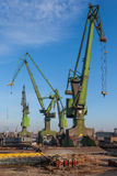 Historic cranes in Gdansk Shipyard Royalty Free Stock Photo