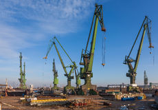 Historic cranes in Gdansk Shipyard Royalty Free Stock Photography