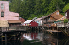 Historic Creek Street. In Ketchikan, Alaska stock photos