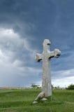 Historic cross. Under dark clouds Stock Image