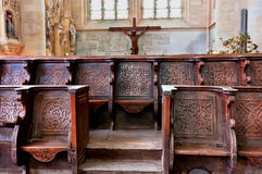 Historic curch bench of the cathedral of coutances Royalty Free Stock Photos