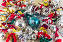 Historic Czechoslovakia Xmas glass decoration figures Royalty Free Stock Photography