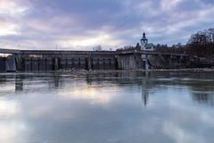 Historic dam wall. Dam wall of hydroelectric power plant Hochablass, river Lech, Augsburg, Germany Stock Photos