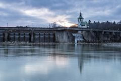 Historic dam wall. Dam wall of hydroelectric power plant Hochablass, river Lech, Augsburg, Germany Stock Image