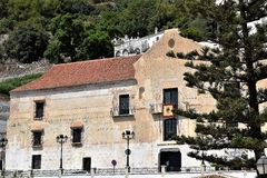 Historic De la Torre building in Frigiliana - Spanish white village Andalusia. Beautiful and charming with its narrow streets and footpaths white village Stock Image