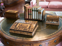 Historic details in a castle. Table with historic accessoires in an english castle stock photography
