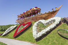 Historic dhow at the Miracle Garden in Dubai Royalty Free Stock Photography