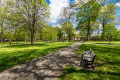 Historic District of Court Street in Wooster Square in New Haven. Connecticut royalty free stock image