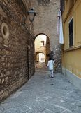 Historic district of Gaeta in the Lazio region in central Italy. View of a typical architecture with narrow alleys in the historic center of Gaeta. Lazio region stock photos