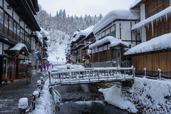 Historic District of Ginzan-onsen in winter Stock Photo