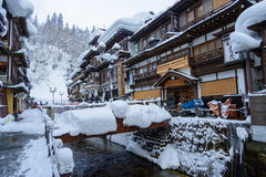 Historic District of Ginzan-onsen in winter Stock Image
