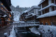 Historic District of Ginzan-onsen in winter Stock Photos