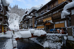 Historic District of Ginzan-onsen in winter Stock Photography