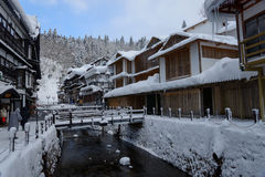Historic District of Ginzan-onsen in winter Royalty Free Stock Images